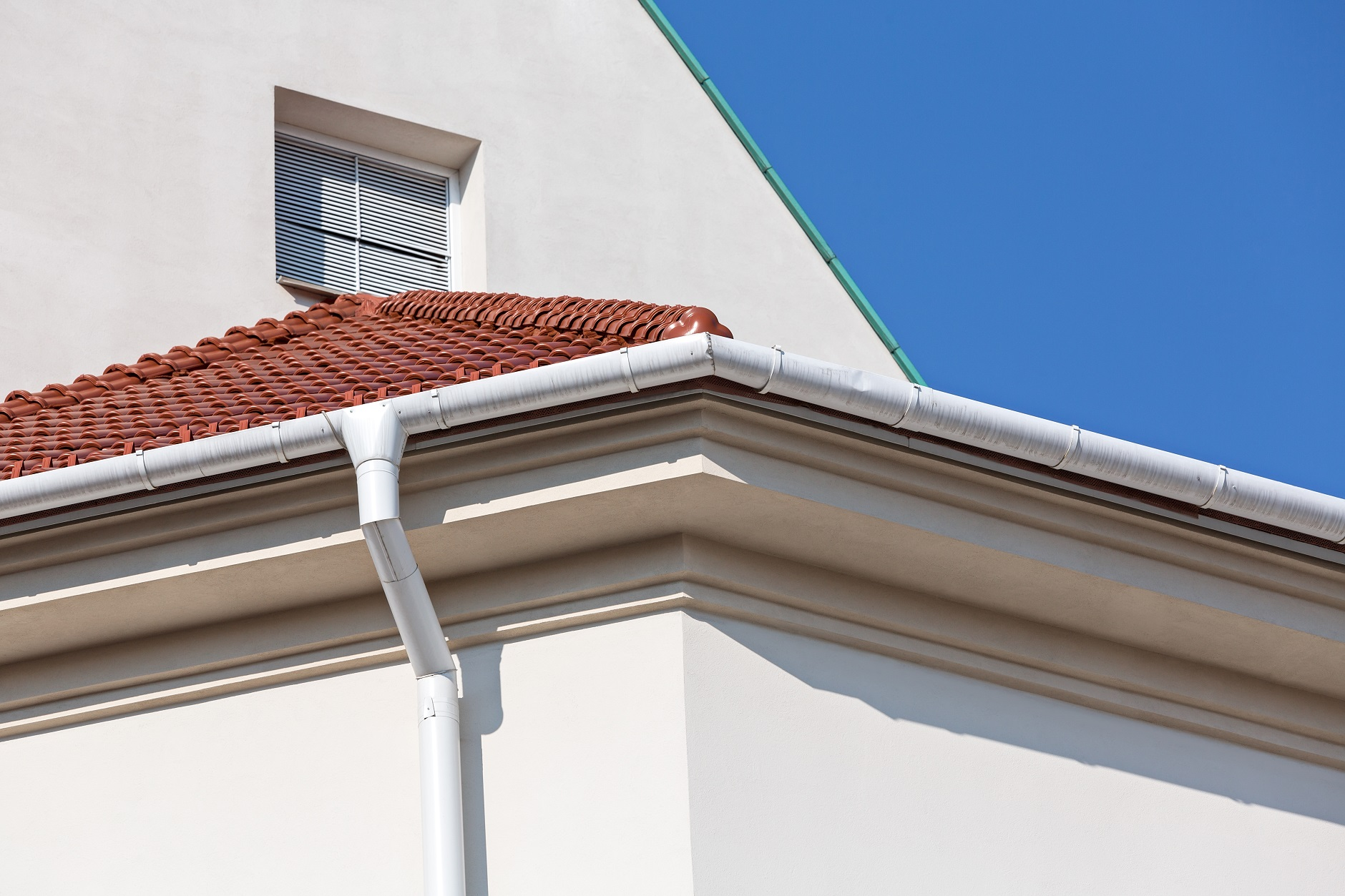 House corner with rain gutter